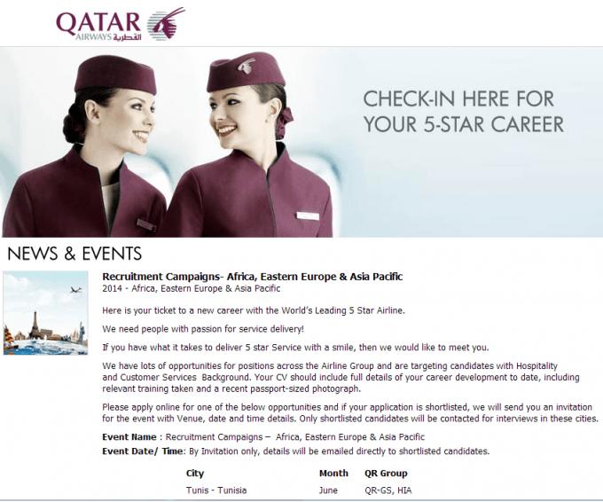 Qatar Airways Careers Recruitment Campaigns Tunisia – June ...
